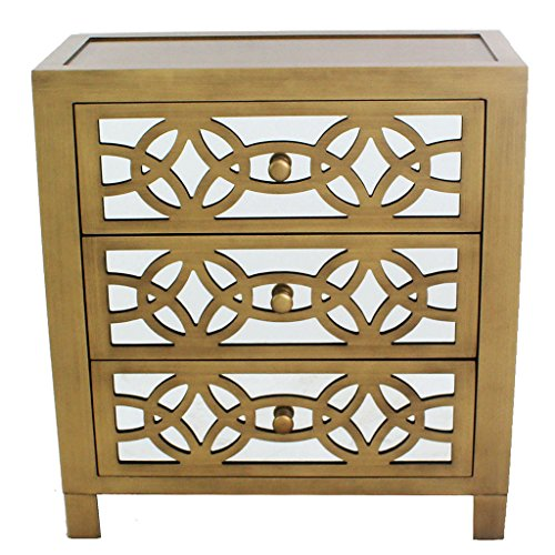 River of Goods Drawer Chest: Womens Glam Slam 3-Drawer Mirrored Wood Cabinet Furniture – Gold