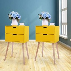 Set of 2 Nightstand Accent Bedside End Table Storage Wood Cabinet Bedroom w/2 Drawers (Yellow)