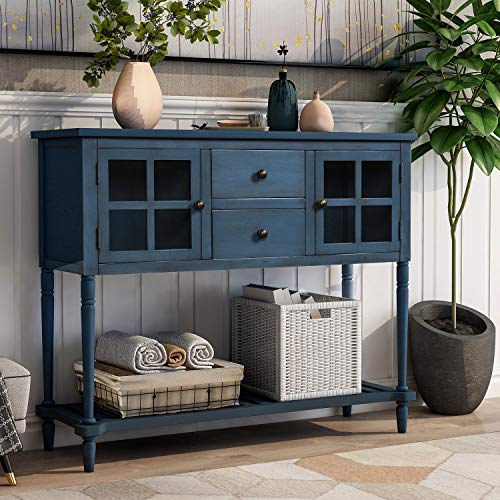 P PURLOVE Console Table Buffet Table Sideboard Console Table Rustic Tables with Two Storage Draw ...