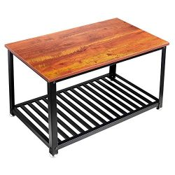 Loglus Industrial Coffee Table/Cocktail Table with Metal Shelf for Living Room, Office, Easy Ass ...