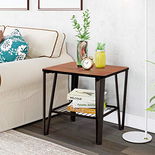 VECELO Industrial End Side, Sofa Table with Metal Storage Shelf for Living/Bed Room, Brown