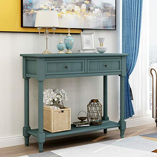 Kutti Entryway Table,Wood Console Sofa Table,Console Table with Two Drawers and Bottom Shelf (Navy)