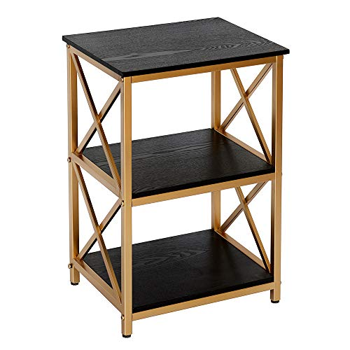 GHQME End Table,3-Tier Telephone Table with Metal Edge Storage Shelf,Metal Legs,Easy Installatio ...