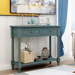 Wood Console Sofa Table with Drawer and Bottom Shelf, WeYoung Daisy Series Entryway Table for Li ...