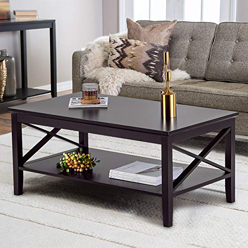 ChooChoo Coffee Table Classic X Design for Living Room, Rectangle Coffee Table with Storage Shel ...