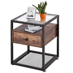 VECELO Nightstand, Tempered Glass End Table, Cabinet with Drawer and Rustic Shelf Decoration in  ...