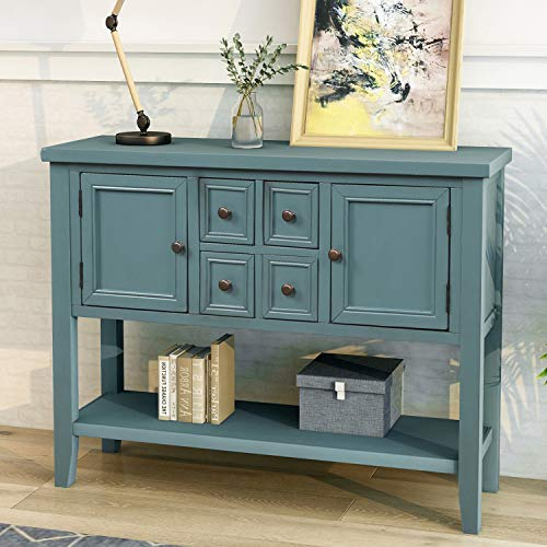 P PURLOVE Sideboard Console Table Buffet Table with Storage Drawers Cabinets and Bottom Shelf (D ...