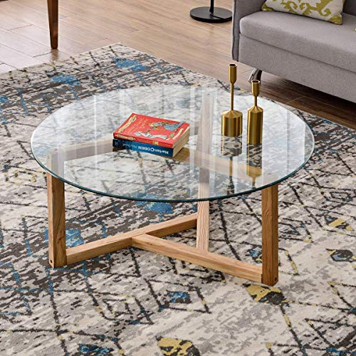 Round Coffee Table 35″ Modern Glass Coffee Table Easy Assembly Tempered Glass Table for Li ...
