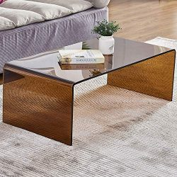 Tempered Glass Coffee Table for Living Room Small Coffee Table Match up Well with Carpet(Brown 3 ...