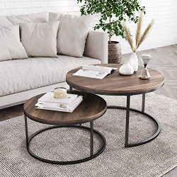 Nathan James Stella Round Modern Nesting Coffee Set of 2, Stacking Living Room Accent Tables wit ...