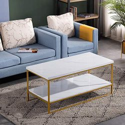 Bonnlo Modern Coffee Table,Faux Marble Top Rectangular Coffee Table with Golden Metal Frame,Livi ...