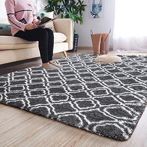 Noahas 4′ x 6′ Soft Area Rugs for Bedroom Living Room Shaggy Patterned Fluffy Carpet ...